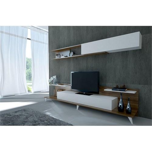 Sanal Mobilya Dore Tv Ünitesi-Beyaz/Ceviz