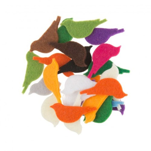 La Mia 25'Li Karışık Renk Kuş Keçe Motifler - Fs293-K