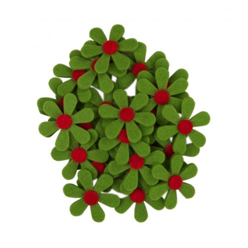 La Mia 25'Li Fıstık Yeşil Papatya Keçe Motifler - C203