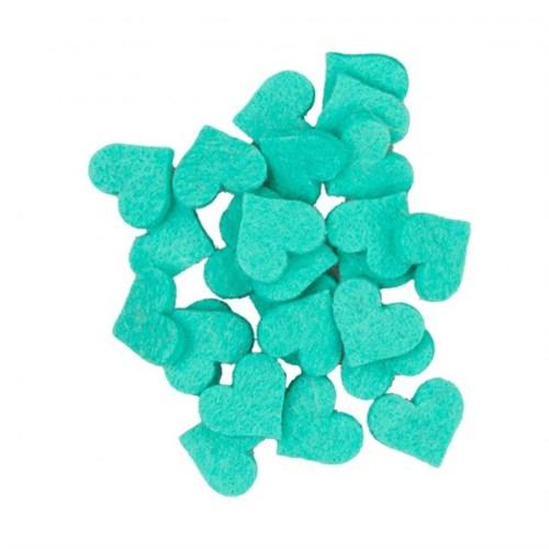La Mia 25'Li Turkuaz Yeşil Küçük Boy Kalp Keçe Motifler - Fs307-M44