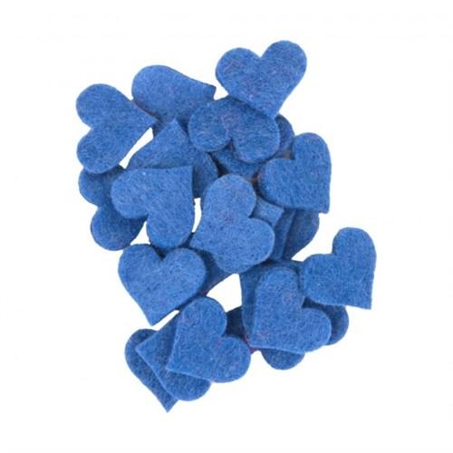 La Mia 25'Li Çivit Mavi Küçük Boy Kalp Keçe Motifler - Fs307-M46