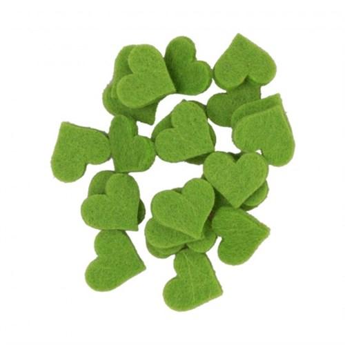 La Mia 25'Li Fıstık Yeşil Küçük Boy Kalp Keçe Motifler - Fs307-M53