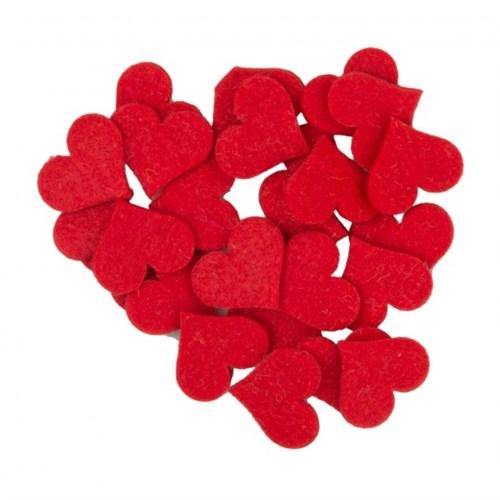 La Mia 25'Li Kırmızı Orta Boy Kalp Keçe Motifler - Fs308-M13