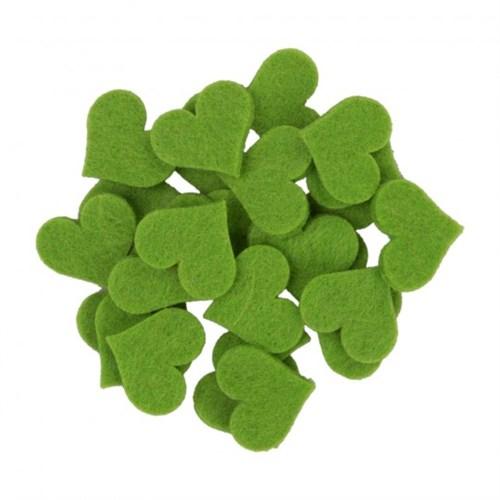 La Mia 25'Li Fıstık Yeşil Orta Boy Kalp Keçe Motifler - Fs308-M53