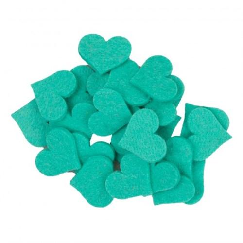 La Mia 25'Li Turkuaz Yeşil Maxi Boy Kalp Keçe Motifler - Fs310-M44