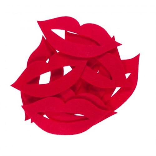 La Mia 10'Lu Kırmızı Dudak-5 Keçe Motifler M13