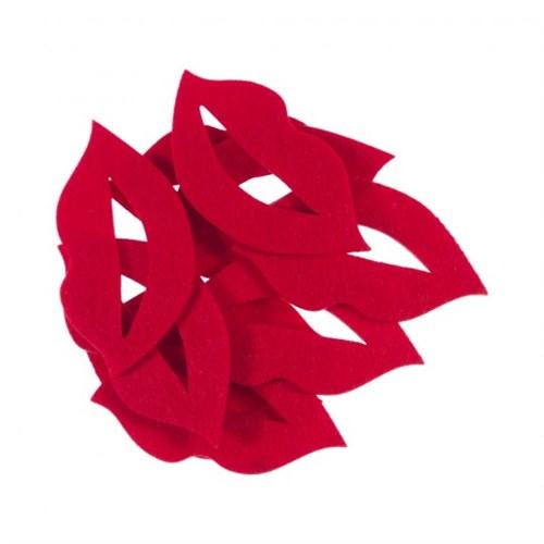La Mia 10'Lu Kırmızı Dudak-6 Keçe Motifler M13