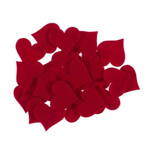 La Mia 25'Li Kırmızı Büyük Boy Kalp Keçe Motifler Fs309-M13