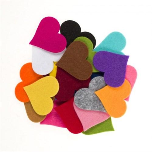 La Mia 25'Li Karışık Renk Maxi Boy Kalp Keçe Motifler - Fs310-K
