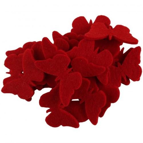 La Mia 25'Li Kırmızı Kelebek Keçe Motifler - Fs306-M13