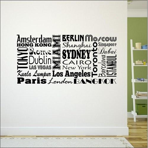 I Love My Wall Şehirler (Shr-206)Sticker(Baykuş Sticker Hediye!)