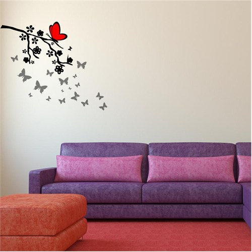 I Love My Wall Floral (F-071)Sticker(Baykuş Sticker Hediye!)
