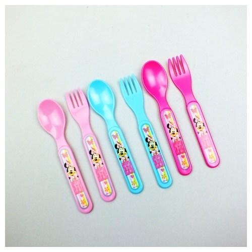 Minnie Plastik 6'Lı Çatal,Kaşık Set
