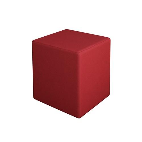 modilayn Kare Puf Ahşap İskeletli - Kırmızı Kumaş
