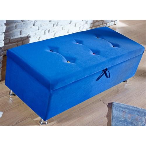 Mattrest Retro Sandıklı Puf Mavi
