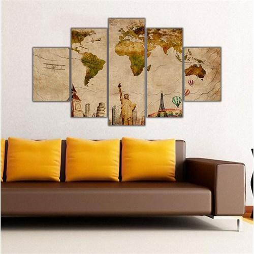 Ritmo Canvas Simgeli Dünya Haritası Canvas Tablo