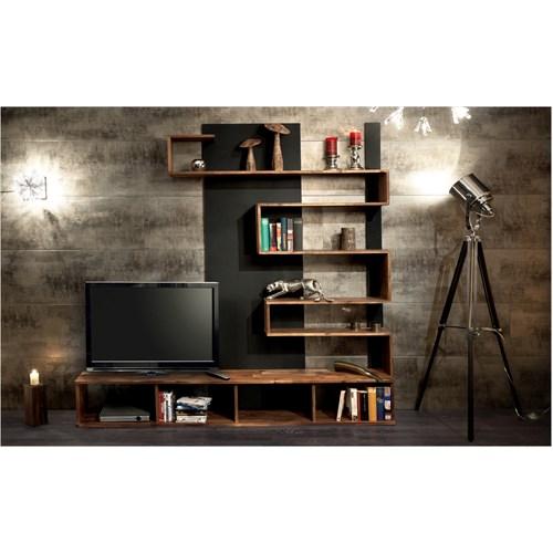 New Arda Tv Ünitesi & Duvar Ünitesi Ceviz-Siyah