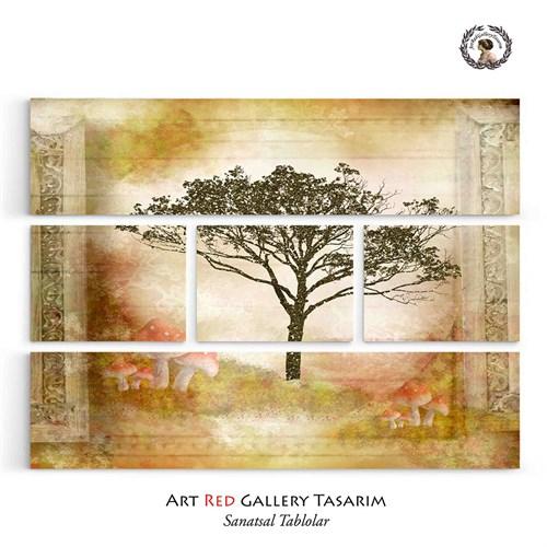 Artredgallery Beş Parça Altın Simli Ağaç126X95