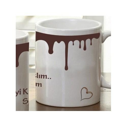 Kişiye Özel Çikolata Damlalı Kupa