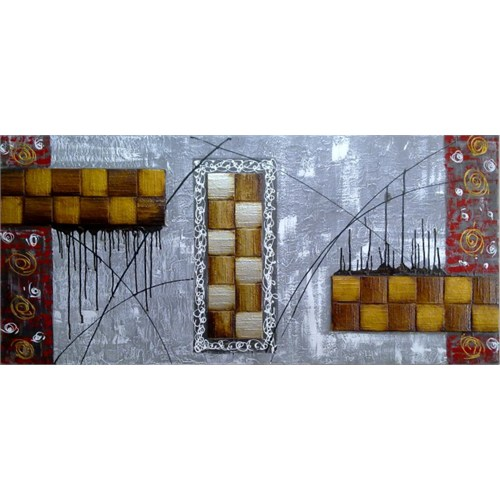 Clock Mango Multi Color Kanvas Tablo 100X40 Cm
