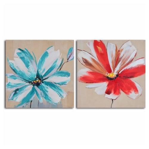 Clock Mango Multi Color Kanvas Tablo 50X50x2 Parçalı