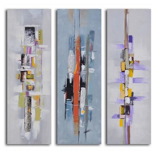 Clock Mango Multi Color Kanvas Tablo 20X50x3prc