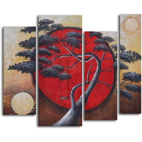 Clock Mango Multi Color Kanvas Tablo 80X50x4prc