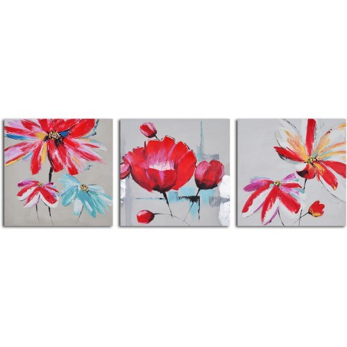 Clock Mango Multi Color Kanvas Tablo 30X30x3prc