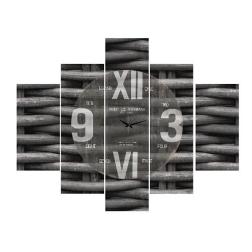 Clock Mango Multi Color Kanvas Tablo 100X80 5Prc