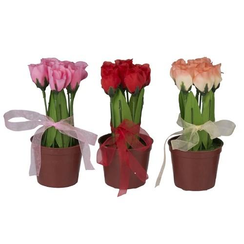 Gold Dekor Saksıda Yapma Çiçek Lale 3Lü Set