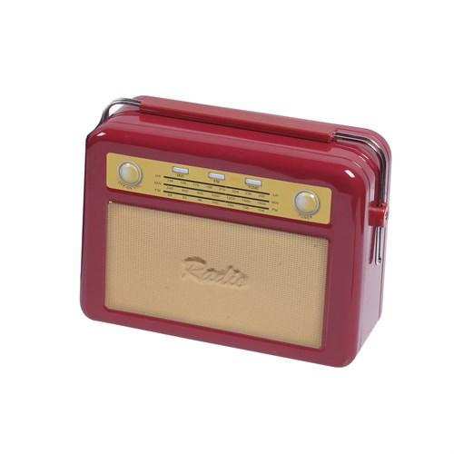 Gold Dekor Saklama Kutusu Radyo Kırmızı