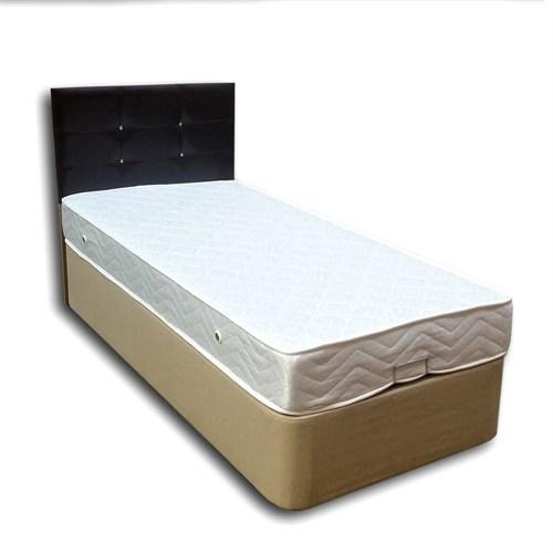Tek Kişilik Sandıklı Kumaş Baza + Başlık + Yatak Full Set -100X200 Siyah