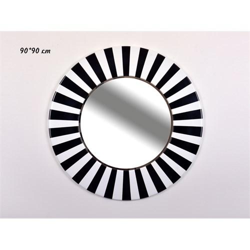 Lucky Art Siyah Beyaz Yuvarlak Duvar Aynası