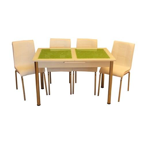 Mrt Mutfak masası takımı cam yeşil baklava masa 6 beyaz deri sandalye