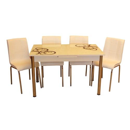 Mrt Mutfak masası takımı cam siyah halka masa 4 beyaz deri sandalye