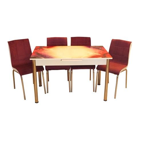 Mrt Mutfak Masa Takımı Rüya Masa 6 Mor Tay Tüyü Kumaş Sandalye