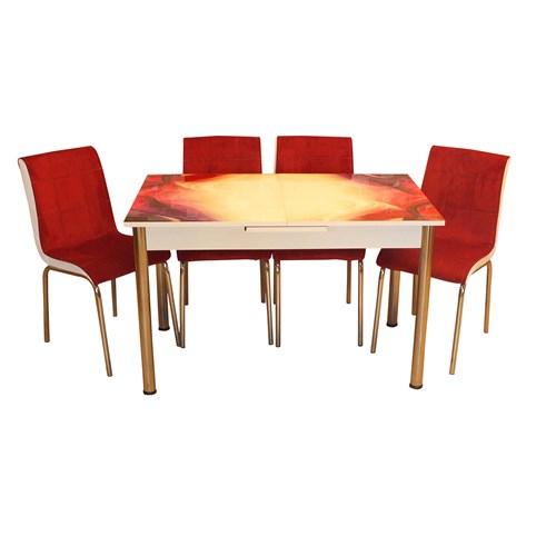 Mrt Mutfak Masa Takımı Rüya Masa 6 Bordo Tay Tüyü Kumaş Sandalye