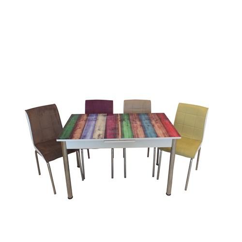 Mrt Mutfak masası takımı cam renkli masa 4 renkli tay tüyü kumaş sandalye