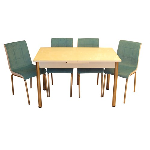Mrt Mutfak masası takımı cam beyaz masa 6 tay tüyü mavi kumaş sandalye
