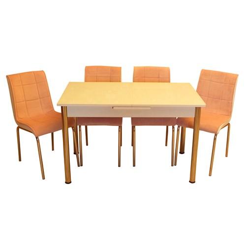 Mrt Mutfak masası takımı cam beyaz masa 4 tay tüyü pembe kumaş sandalye
