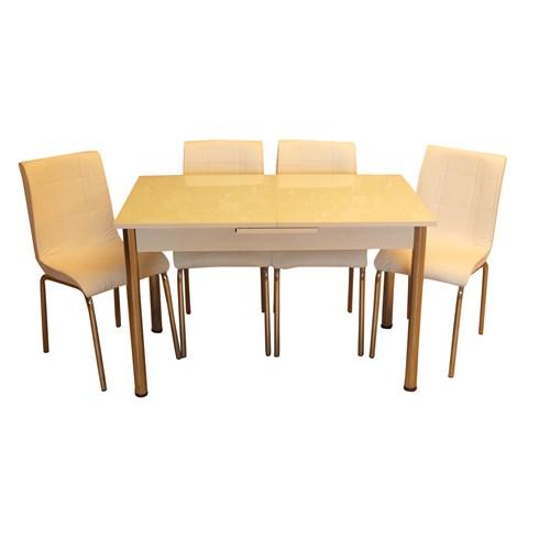 Mrt Mutfak masası takımı cam beyaz masa 6 beyaz deri sandalye