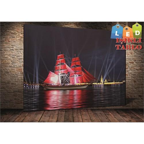 Tablo İstanbul Kırmızı Yelkenli Gemi Işıklar Led Işıklı Kanvas Tablo 45 X 65 Cm