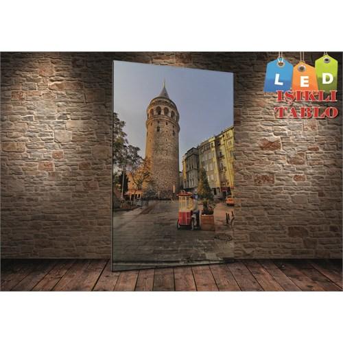 Tablo İstanbul Galata Kulesi Ve Simitçi Led Işıklı Kanvas Tablo 45 X 65 Cm