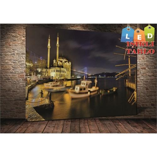 Tablo İstanbul Ortaköy Kayık İstanbul Led Işıklı Kanvas Tablo 45 X 65 Cm