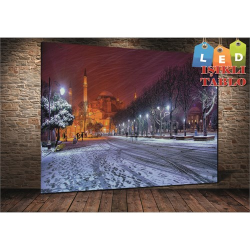 Tablo İstanbul Ayasofya Karlı İstanbul Led Işıklı Kanvas Tablo 45 X 65 Cm