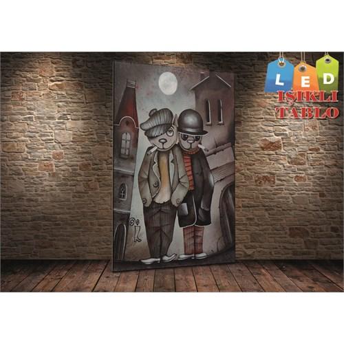 Tablo İstanbul Aşık Kediler Led Işıklı Kanvas Tablo 45 X 65 Cm