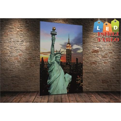 Tablo İstanbul Özgürlük Heykel Dikey Led Işıklı Kanvas Tablo 45 X 65 Cm