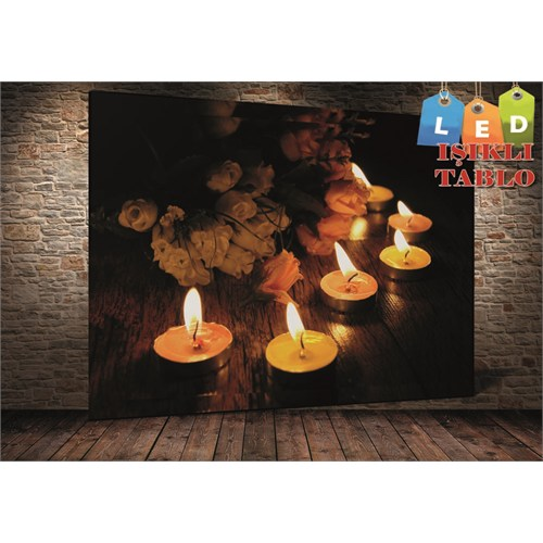 Tablo İstanbul Güller Ve Mumlar Led Işıklı Kanvas Tablo 45 X 65 Cm