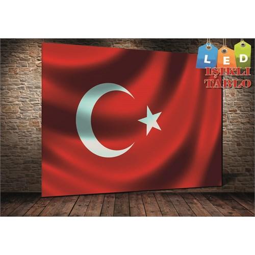Tablo İstanbul Türk Bayrağı Led Işıklı Kanvas Tablo 45 X 65 Cm