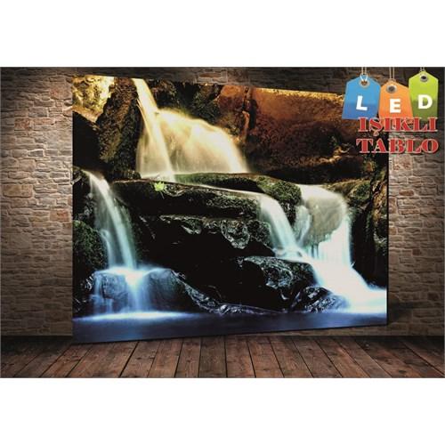 Tablo İstanbul Şelale Taşlar Led Işıklı Kanvas Tablo 45 X 65 Cm